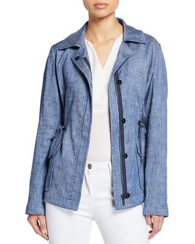 Helga Zip-Front Chambray Linen Jacket