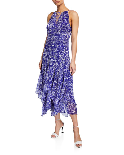 Printed Silk Handkerchief Halter Dress