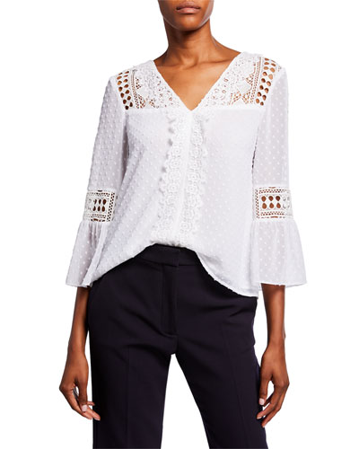 V-Neck Bell-Sleeve Eyelet Combo Top