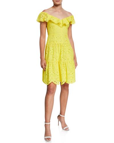 Off-the-Shoulder Tiered Eyelet Dress