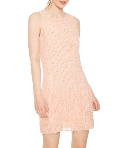 Allegra Beaded Mini Shift Dress with Feathers