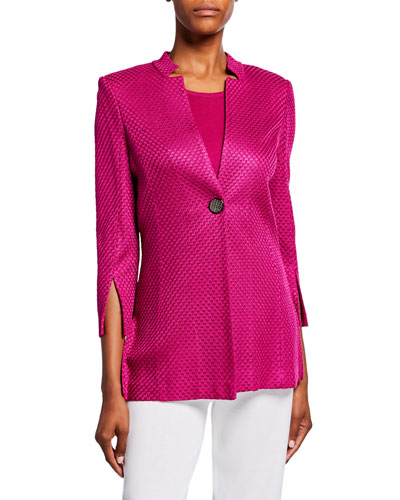 Petite Textured 3/4-Sleeve One-Button Long Jacket