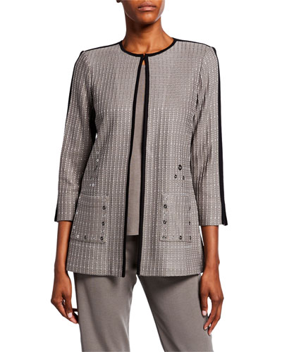 Petite Textured 3/4-Sleeve Long Jacket with Front Pocket Detail