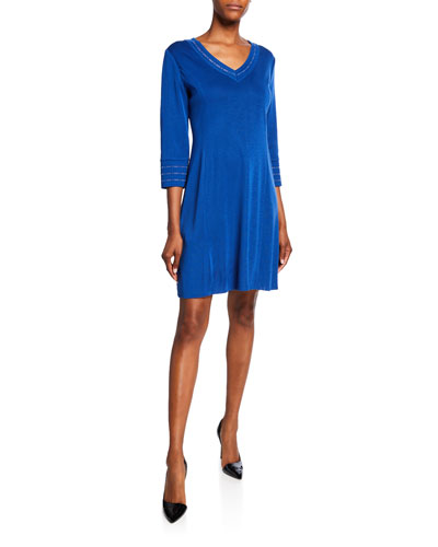 Petite V-Neck 3/4-Sleeve Knee-Length Dress