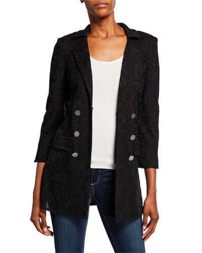 Plus Size Textured Double-Breasted Long Jacket