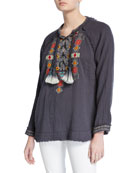 Johnny Was Plus Size Jonnie Lace-Up Long-Sleeve Embroidered