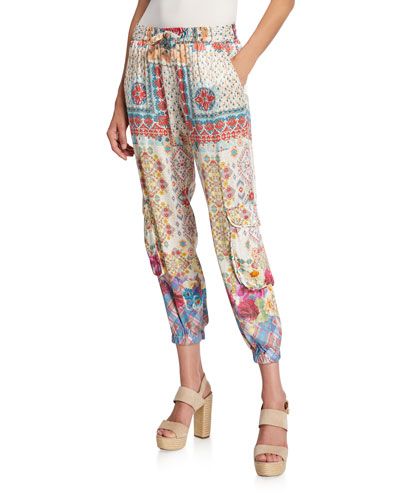 Landa Printed Drawstring Satin Cargo Pants