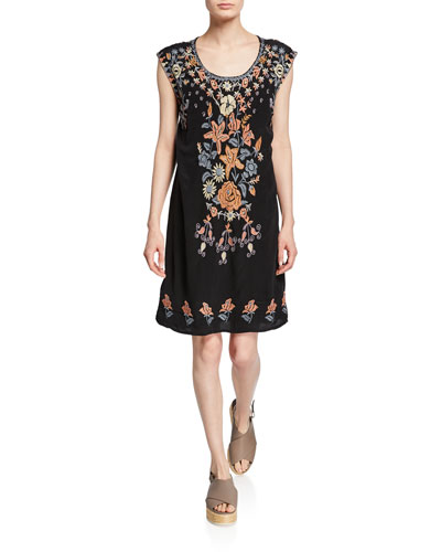 Yvonne Floral Embroidered Sleeveless Shift Dress