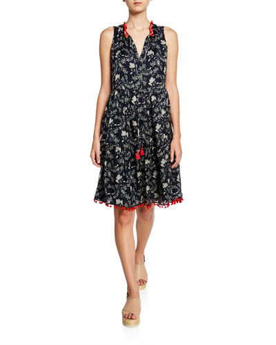 Susila Floral-Print Sleeveless Tiered Dress w/ Mini Pom Trim