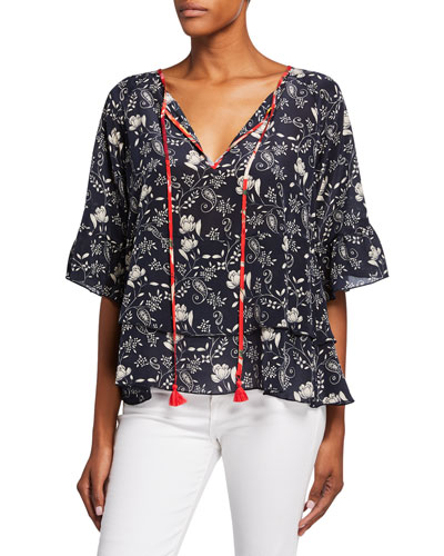 Lago Printed Split-Neck Short-Sleeve Tiered Top