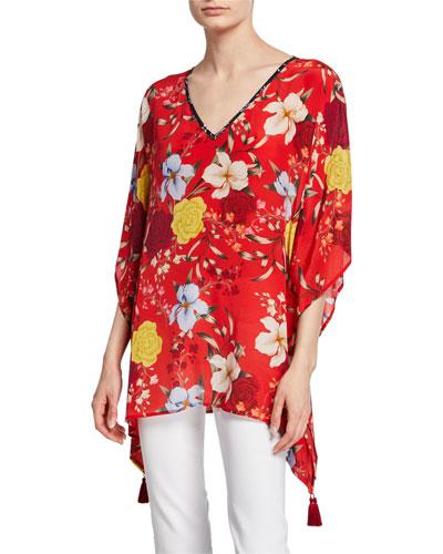Plus Size Vega Floral-Print V-Neck Silk Tunic with Tassel Trim