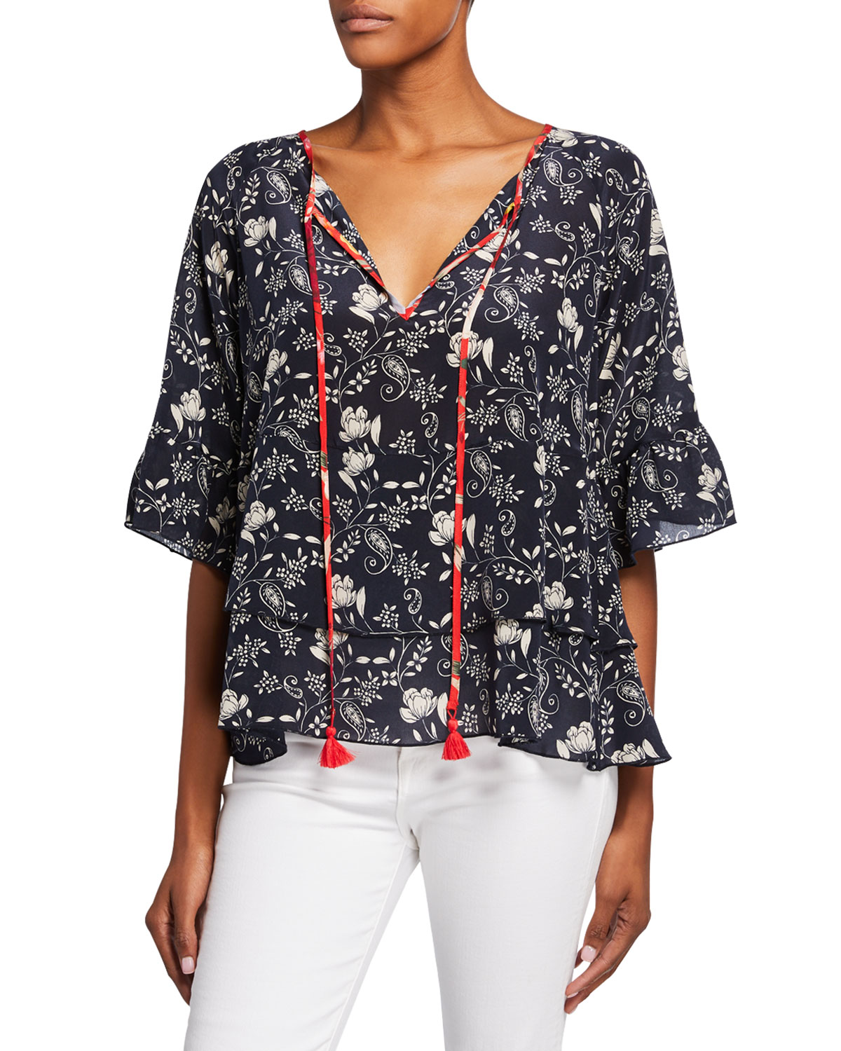 Johnny Was Shorts PLUS SIZE LAGO PRINTED SPLIT-NECK SHORT-SLEEVE TIERED TOP