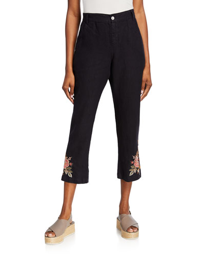 Paolo Floral Embroidered Cropped Linen Pants