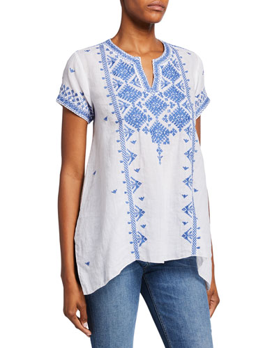 Azure Embroidered Short-Sleeve Boho Linen Top