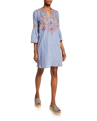 Petite Shankara Lanai Stripe Flare-Sleeve Embroidered Tunic Dress