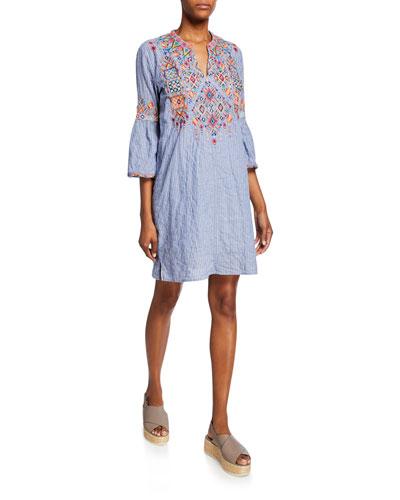 Shankara Lanai Stripe Flare-Sleeve Embroidered Tunic Dress