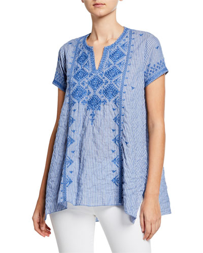 Azure Lanai Stripe Short-Sleeve Draped Boho Top w/ Embroidery