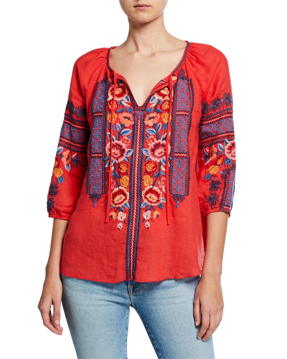 Johnny Was Tops PLUS SIZE DANI EMBROIDERED SPLIT-NECK 3/4-SLEEVE LINEN PEASANT BLOUSE