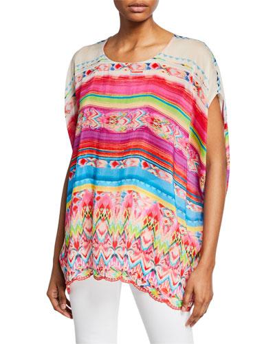 Plus Size Tulum Printed Oversized Short-Sleeve Georgette Tunic