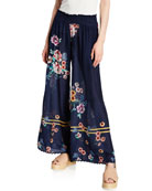 Johnny Was Plus Size Mariah Floral-Print Smocked-Waist Wide-Leg