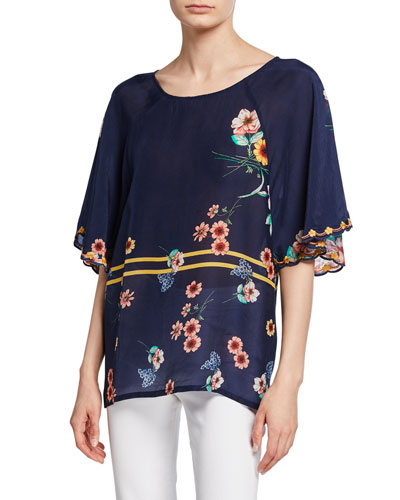 Paola Floral Print Short-Sleeve Georgette Tunic