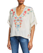 Johnny Was Klarah Embroidered V-Neck Cropped Blouse with