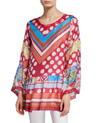Johnny Was Dadot Multi-Print Flare-Sleeve Silk Georgette Top