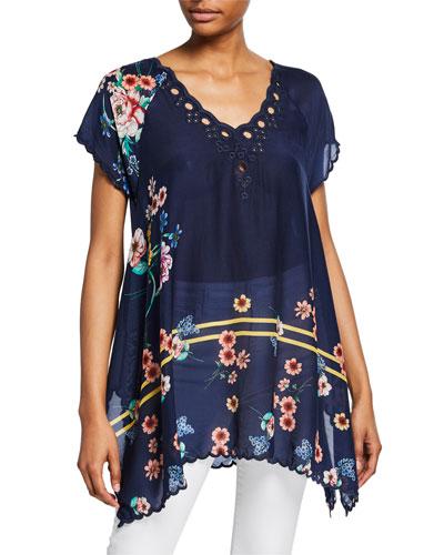 Plus Size Muzuko Floral-Print V-Neck Short-Sleeve Flowy Scallop Hem Tunic