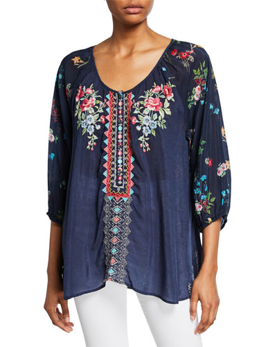 Plus Size Sheera Embroidered 3/4-Sleeve Georgette Blouse w/ Floral Printed Back