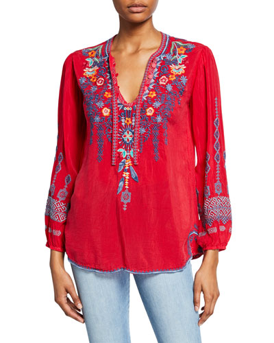 Petite Chelsee Embroidered V-Neck Long-Sleeve Georgette Blouse