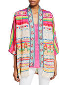 Johnny Was Maci Reversible Georgette Kimono with Embroidered