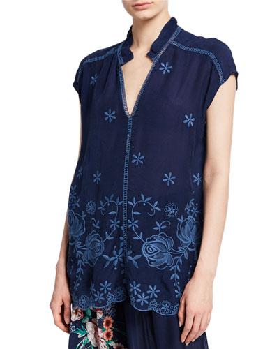 Trisa Embroidered V-Neck Short-Sleeve Georgette Blouse