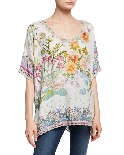 Floral-Print V-Neck Short-Sleeve Silk Georgette Top