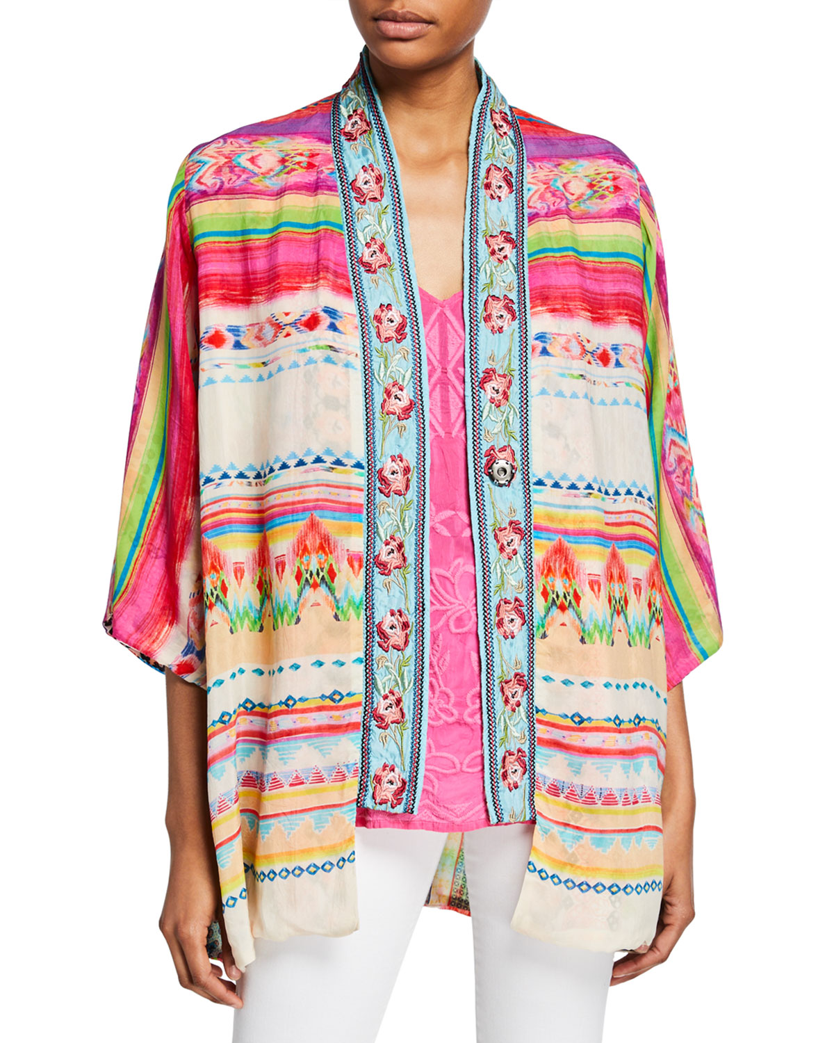 Johnny Was Tops PETITE MACI REVERSIBLE GEORGETTE KIMONO WITH EMBROIDERED TRIM