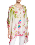 Johnny Was Plus Size Galore Floral-Print Silk Georgette
