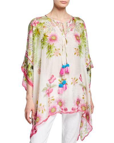 Plus Size Galore Floral-Print Silk Georgette Caftan Top w/ Pom Pom Ties