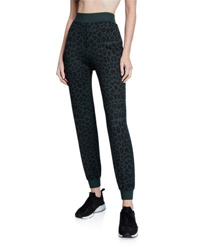 Amina Leopard-Print Jogger Pants