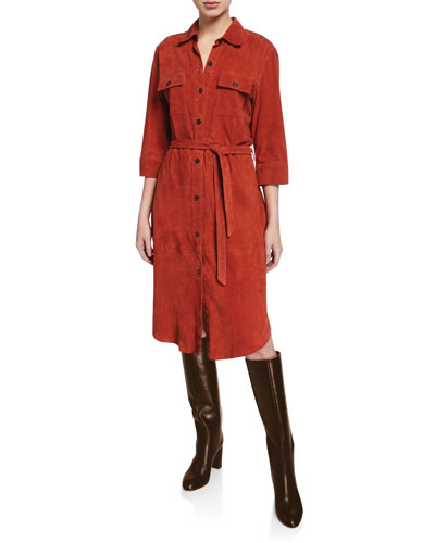 Belted Suede Military Shirt Dress