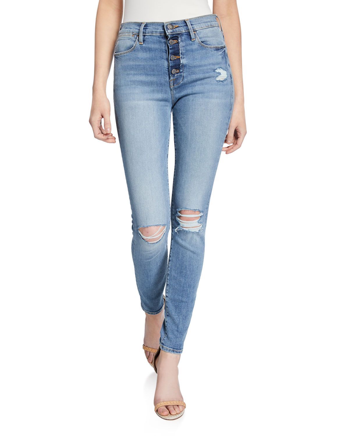 Frame Jeans LE HIGH SKINNY DISTRESSED JEANS W/ BUTTON FLY