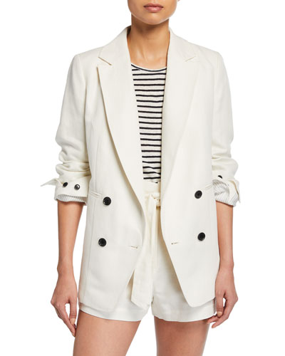 Double-Breasted Linen/Cotton Boyfriend Blazer