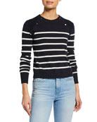 FRAME Mariner Stripe Cotton Sweater w/ Button Detailing