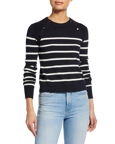 Mariner Stripe Cotton Sweater w/ Button Detailing