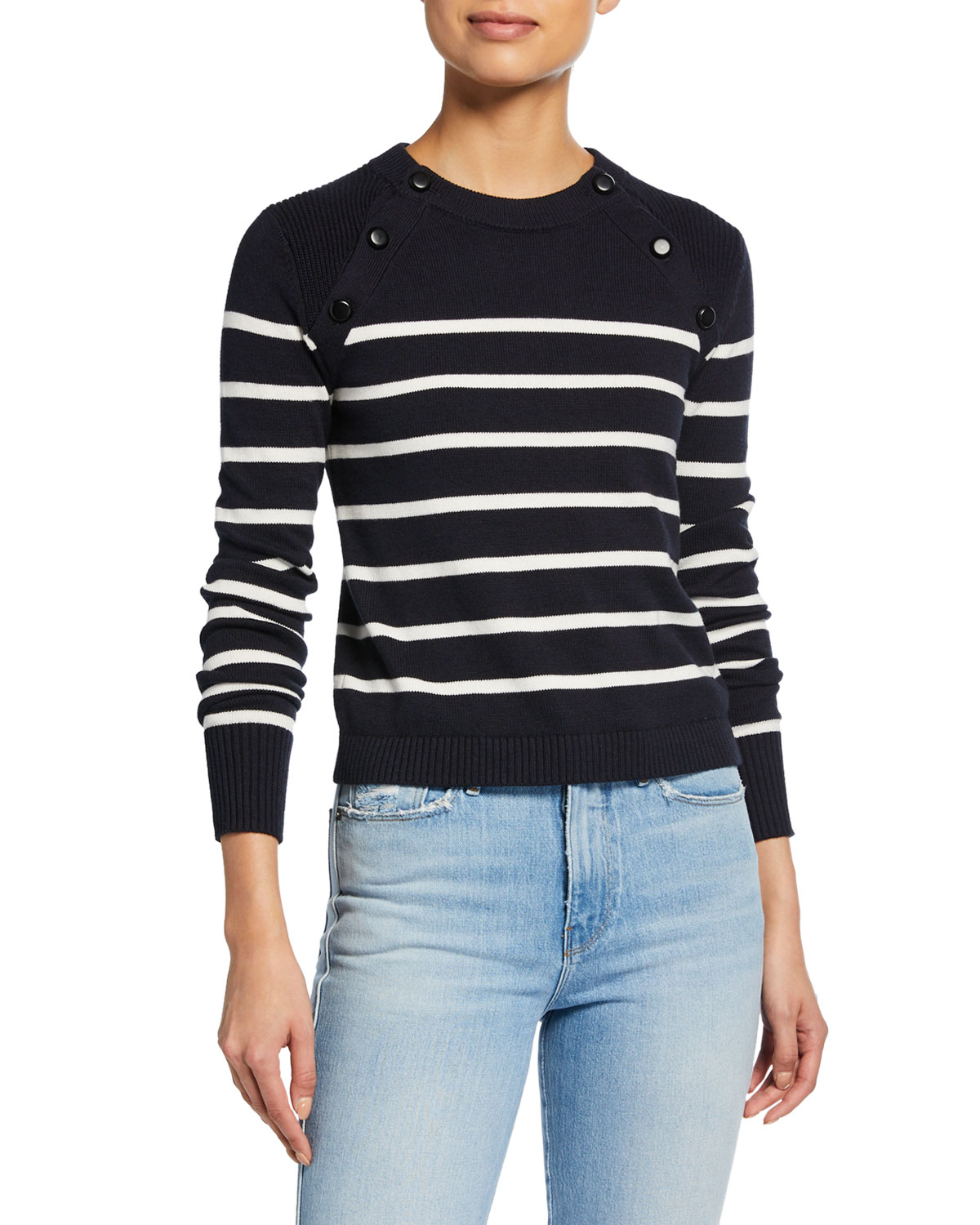 Frame Sweaters MARINER STRIPE COTTON SWEATER W/ BUTTON DETAILING