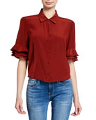 FRAME Button-Front Ruffle Sleeve Crop Top