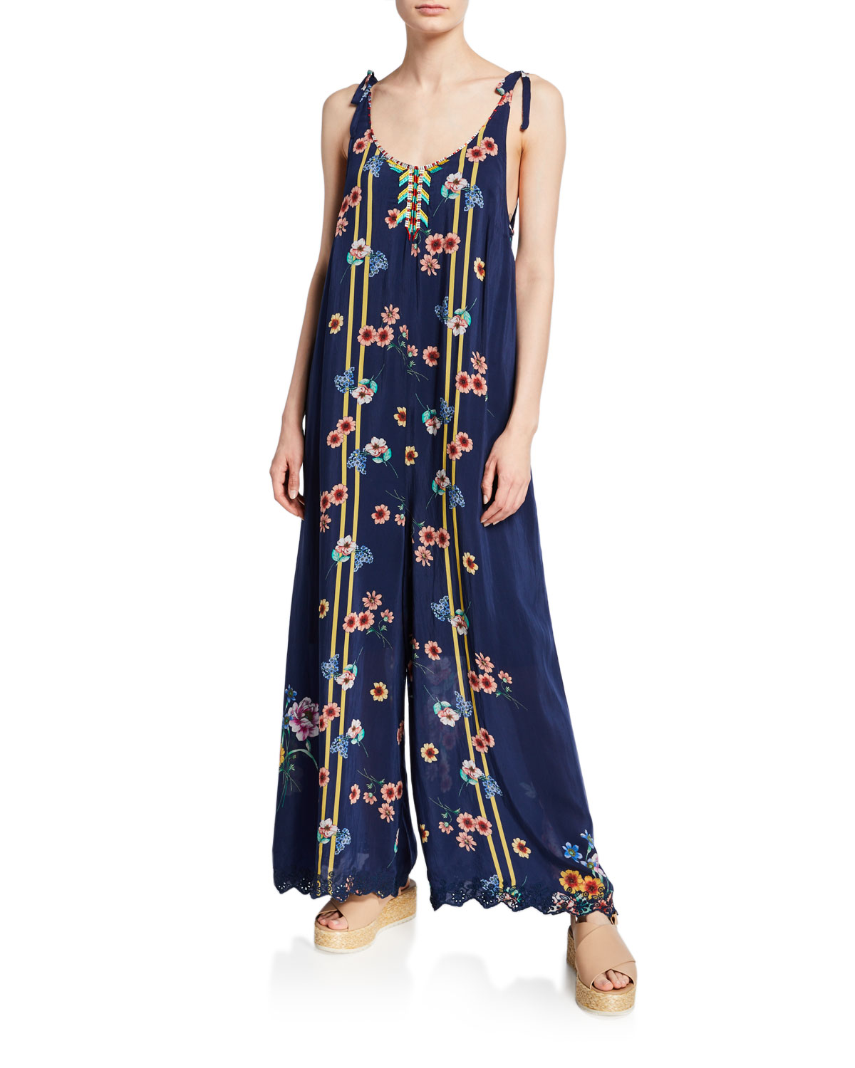 Johnny Was Suits PLUS SIZE ZAIKO FLORAL-PRINT SLEEVELESS GEORGETTE JUMPSUIT WITH EMBROIDERY