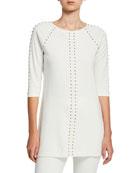 Joan Vass Petite Studded 3/4-Sleeve Long Tunic