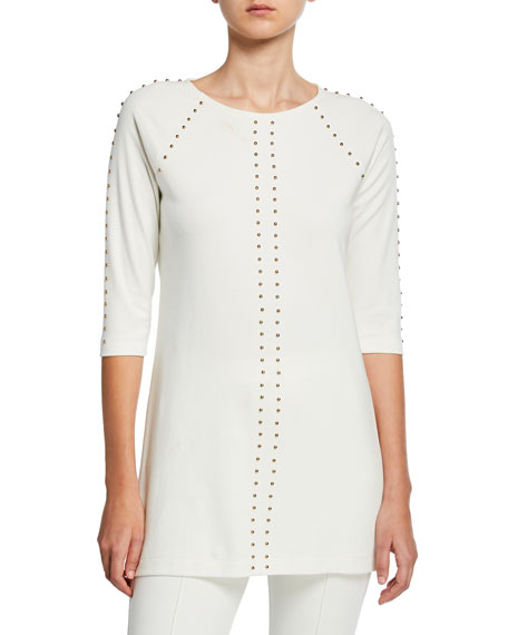 Joan Vass Petite Studded 3/4-Sleeve Long Tunic