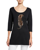 Joan Vass Plus Size Sequin Tiger Scoop-Neck 3/4-Sleeve