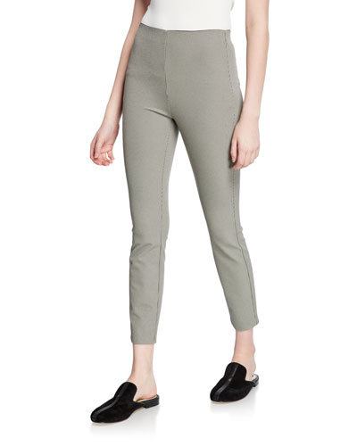 Simone Skinny Micro-Check Crop Pants