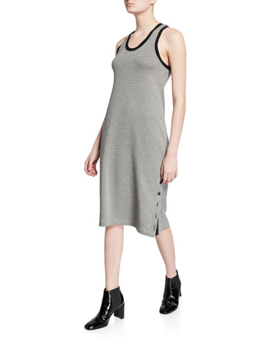 Mari Houndstooth Scoop-Neck Tank Dress